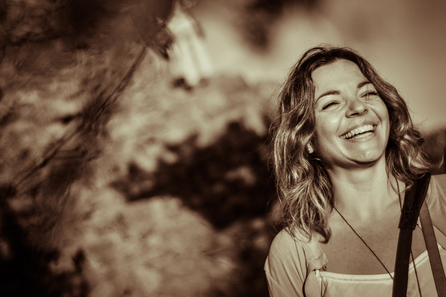 Portrait of Laura Mazzello at magic hour in Park Guell, Barcelona
