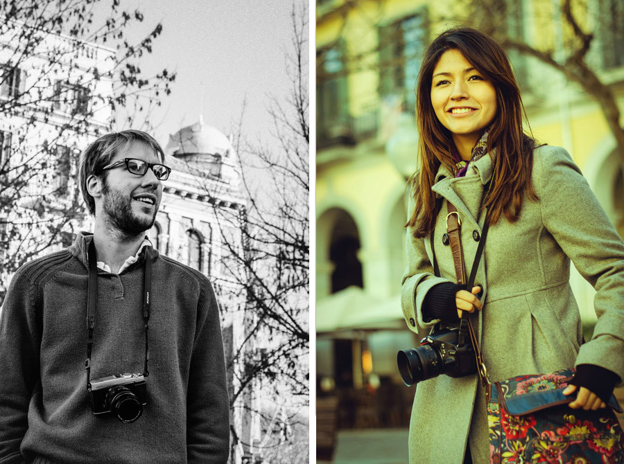 Portrait of Ben Evans and Hiromi Torres in Girona, Spain.