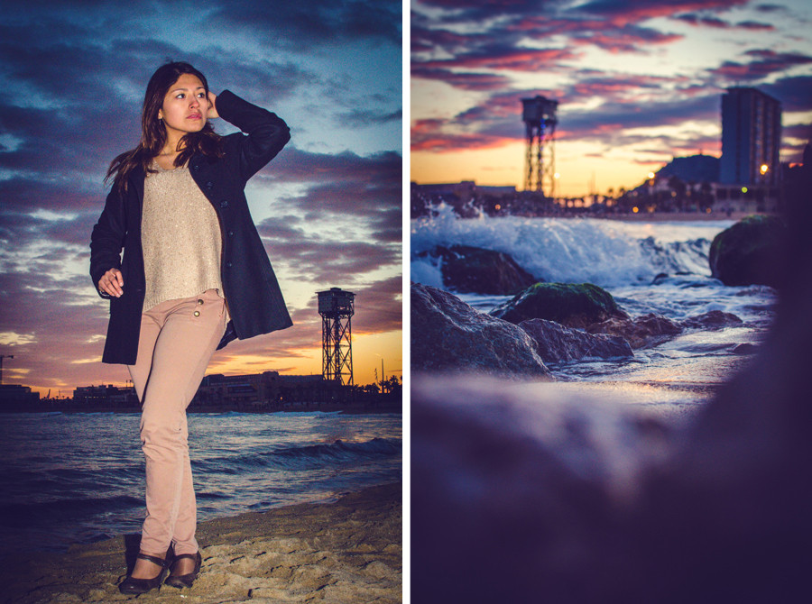 Hiromi Torres as model on the beach at sunset in Barcelona