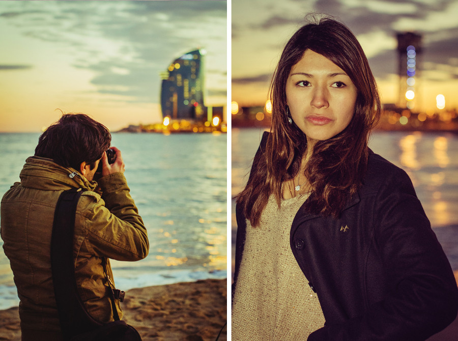 Rui Figueira and HIromi Torres at the sea front in Barcelona