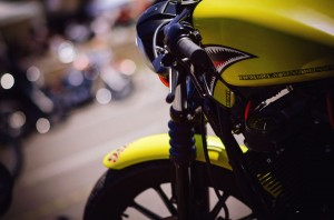 Teeth on yellow bike at the Harley Days in Barcelona 2013