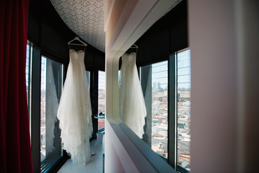Wedding dress with view from Barceló Raval, Barcelona