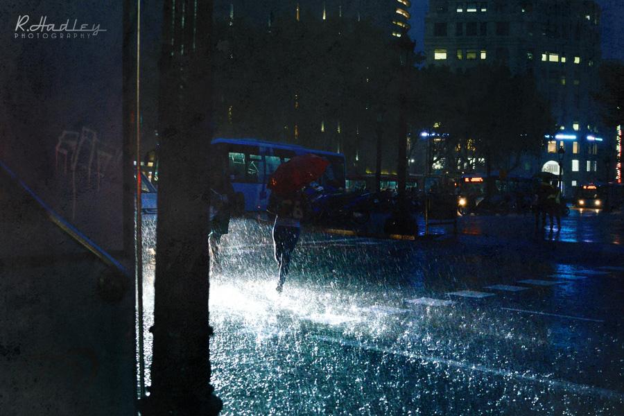 rain in Placa Catalunia, Barcelona