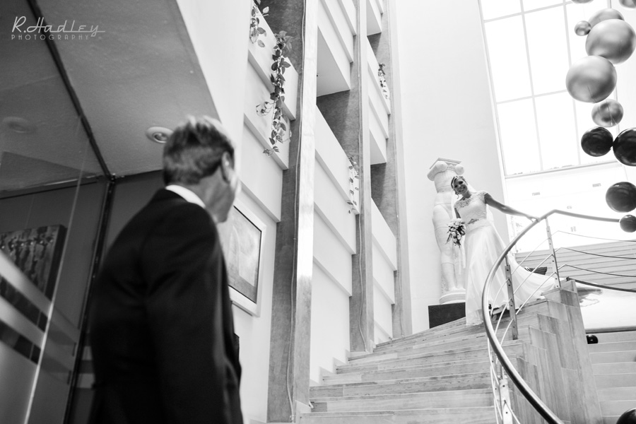 Bride on the stairs at Hotel Estela Barcelona