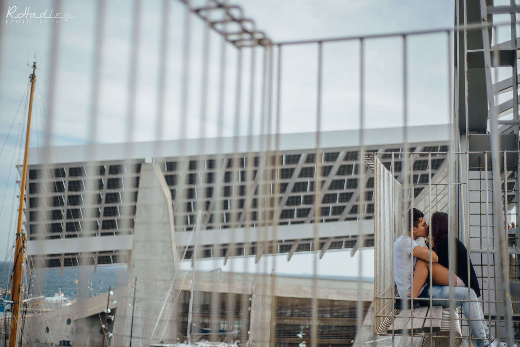 Couple kissing near Barcelona Solar Panel