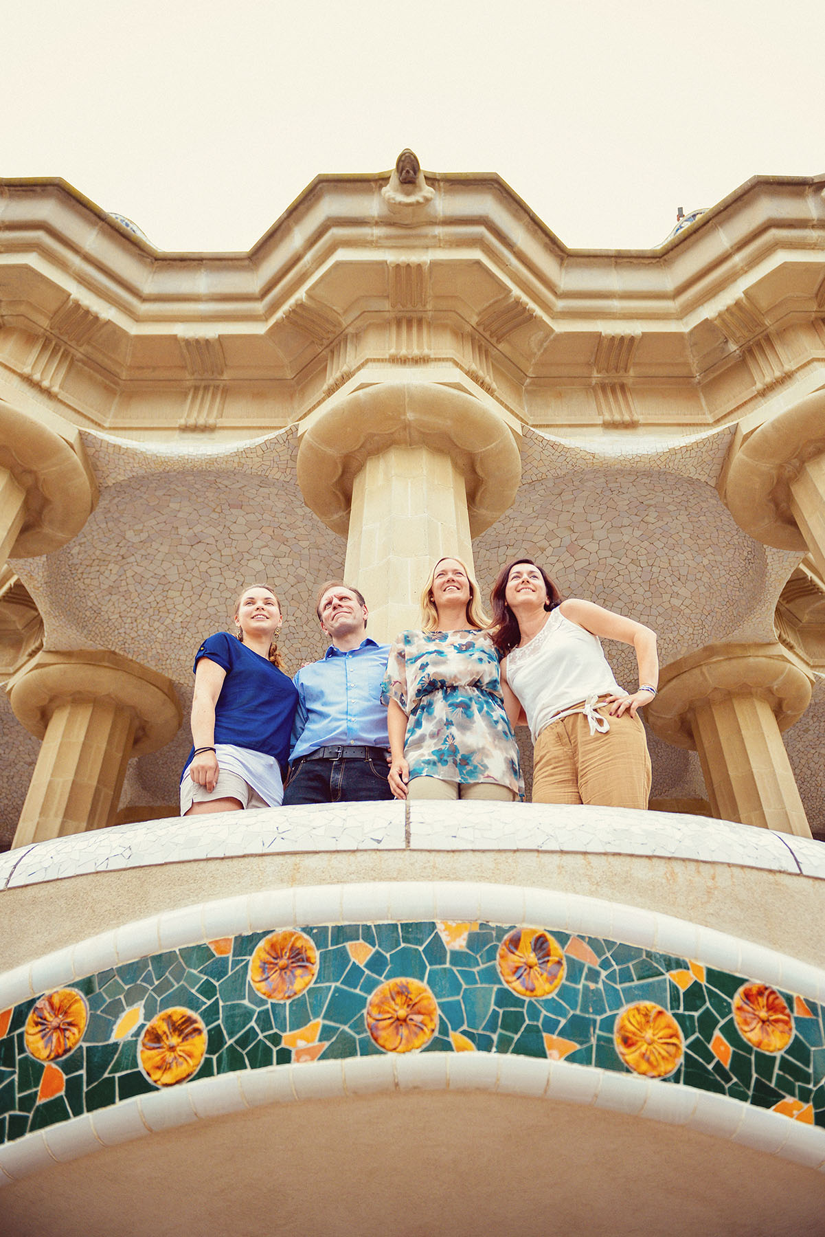 Pearl Sandals wedding organisers. Team portrait photo shoot in Park Guell, Barcelona