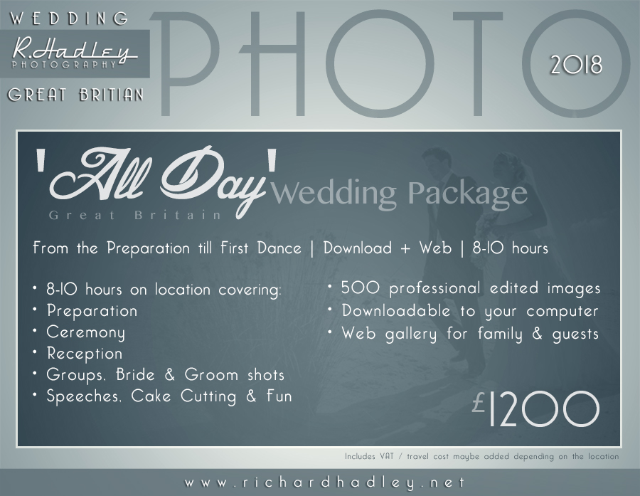 wedding photographer in Warwickshire packages
